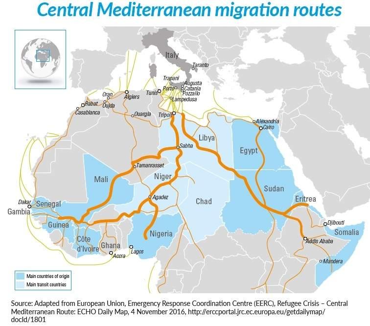 Mapa de los flujos migratorios en África